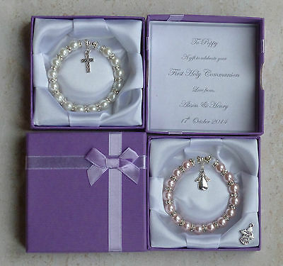 First Holy Communion Gift, Present. Personalised Bracelet In Box Christian Gift. • 8.99£