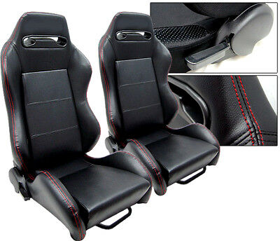 $249.99 • Buy 2 Black Leather + Red Stitch Racing Seats Ford Mustang COBRA NEW