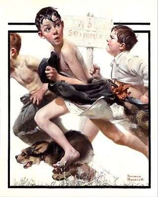 $ CDN19.72 • Buy Norman Rockwell Boys Caught No Swimming Art oil Painting Print On Canvas Print