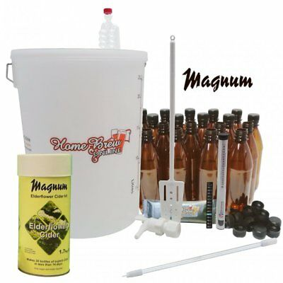 Magnum Home Brew Cider Starter Kit 40 Pint Apple Pear Elderflower Strawberry • 69.95£