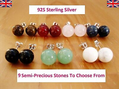 925 Sterling Silver - Semi-Precious Gemstones Round Stud Earrings 7-8mm Size • 3.75£