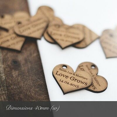 Personalised 4cm Wooden Heart Wedding Favours, For Invites Or Table Decorations. • 4.99£