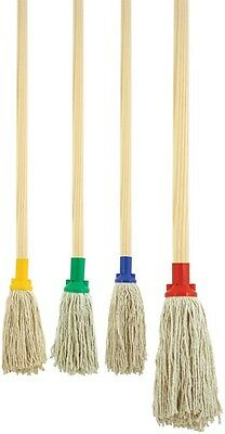 £7.95 • Buy Colour Coded Mop Head Wooden Shaft Hygienic Cleaning No12 Pure Yarn Cotton Mop