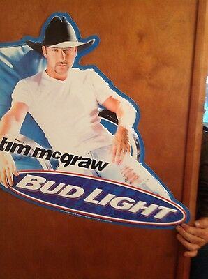 $ CDN37.97 • Buy Tim McGraw Budweiser Bud Light Rare Large Metal Advertising Sign
