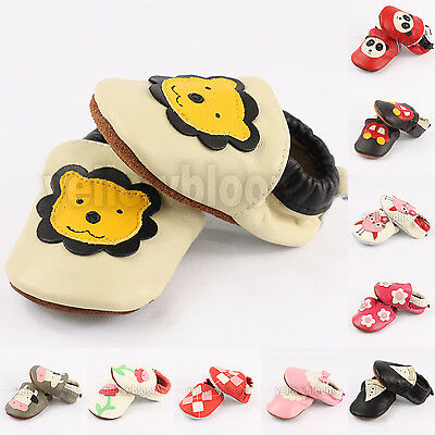 Baby Infant Toddler Soft Sole Slip On Leather Moccasins Shoes Socks Slippers • 7.29£