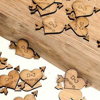 Personalised Wooden Heart & Arrow Decorations, Rustic, Vintage Wedding Favours. • 12.99£