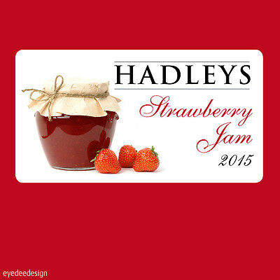 24 X Jam Jar Pot Stickers Labels Homemade Preserves Personalised Strawberry -363 • 1.55£