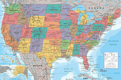 AU24.99 • Buy Map Of Usa United States America Poster (61x91cm) Educational Wall Chart Picture