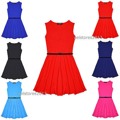 £6.29 • Buy Girls Skater Dress Party Dresses With Free Belt Age 5 7 8 9 10 11 12 13 Years