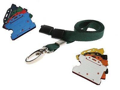 Green Neck Strap Lanyard With Silver Lobster Clip And ID Staff Card Holder • 0.99£