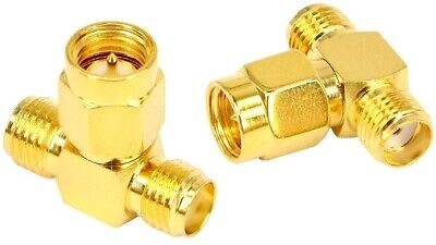 £2.69 • Buy SMA Male To Two SMA Female T Connector Adapter Splitter Connector X1         784