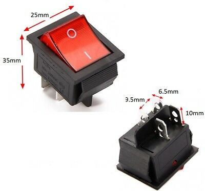 £3.95 • Buy Rocker Switch 240V Mains Red ON / OFF Double Pole 4 Pin DPST