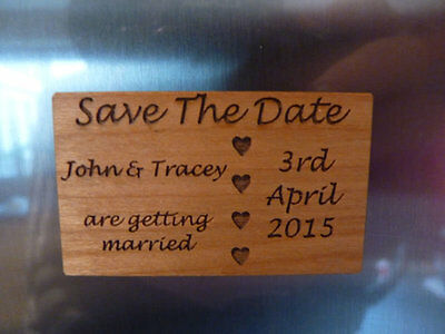 AU5.38 • Buy Wooden Save The Date Wedding Fridge Magnets: Personalised