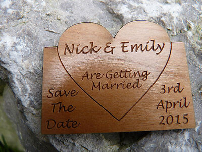 AU23.38 • Buy Save The Date Wedding Fridge Magnets: Personalised Wooden Engraved Hearts