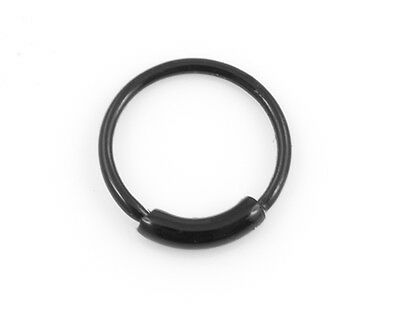 AU4.95 • Buy 1 Black Colour Plated Nose Hoop Ring Endless 22g 7mm #BE1