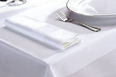 White Superior Finished Satin Band Large Table Cloths And Napkins 100%  Cotton • 12£