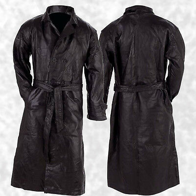 $55.99 • Buy Mens Long Black Leather Button Front Trench Over Coat Full Length Duster Jacket