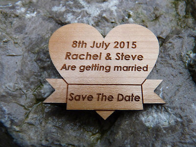 AU89.97 • Buy Personalised Save The Date Fridge Magnets: Wedding / Engagement Hearts Wood