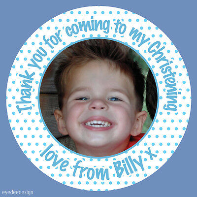 Personalised Christening Birthday Party Bag Picture Photo Stickers Labels  - 436 • 2.25£