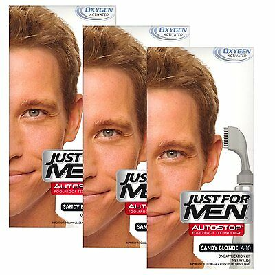 £29.99 • Buy 3X Just For Men Auto Stop Mens Hair Colouring Dye Colour Restor Sandy Blonde A10