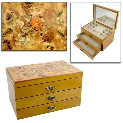 Mele Wooden Jewellery Box With Inlaid Oriental Rose Marquetry Design Jewel Chest • 28.45£