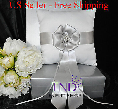 £9.82 • Buy Satin Wedding Ring Bearer Pillow Accented W/ Silver Satin Ribbon & Pearl Flower
