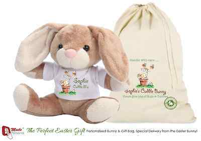 Personalised Rabbit & Gift Bag - Cuddle Bunny Gift - Any Name • 12.95£