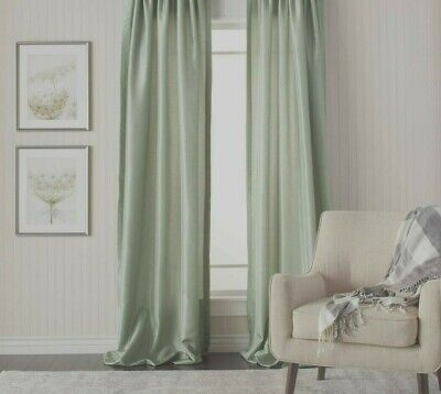 £24.99 • Buy  MODERN PLAIN FAUX SILK LINED TAB TOP CURTAINS In LIGHT SAGE ROSEMARY GREEN