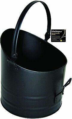 Round Fireside Bucket With Handle Black Coal Logs Fireplace • 13.99£