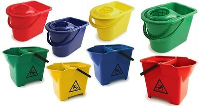 £8.99 • Buy Colour Coded Plastic Mop Bucket Hygienic Cleaning Mop Wringer Wet Floor Cleaner