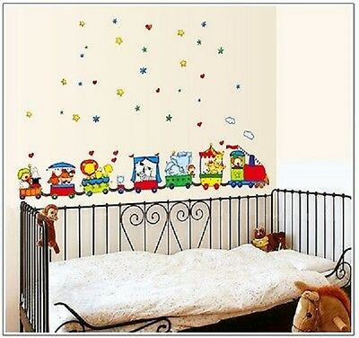 Train Cartoon  Childrens Wall Stickers Decals  Kids Room TC 6047 Nursery • 8.99£