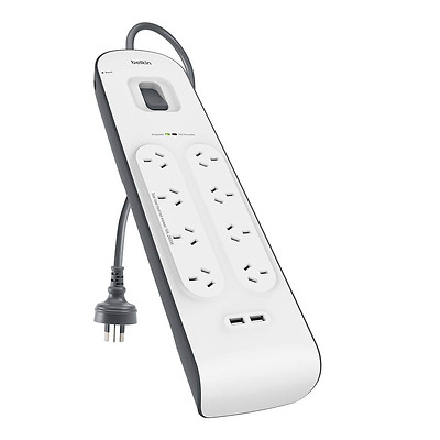 AU64.95 • Buy Belkin 8 Way Outlet Surge Protector Power Board With USB Charging IPhone Charger
