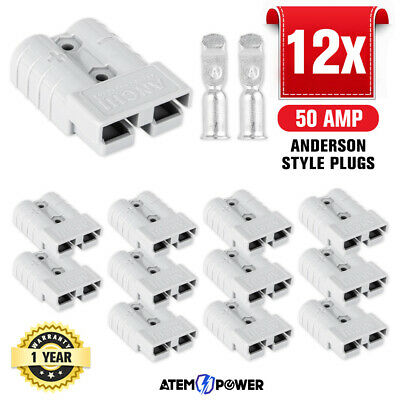 AU19.95 • Buy 12PCS Anderson Style Plug Connectors 50 AMP 12-24V 6AWG DC Power Tool