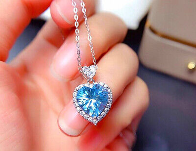 £3.95 • Buy Sky Blue Heart Pendant 925 Sterling Silver Necklace Chain Womens Jewellery Gifts