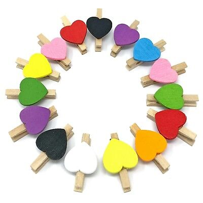 £2.99 • Buy Mini Heart Shape Wooden Clothes Peg Craft For Shabby Chic Vintage Wedding 15mm
