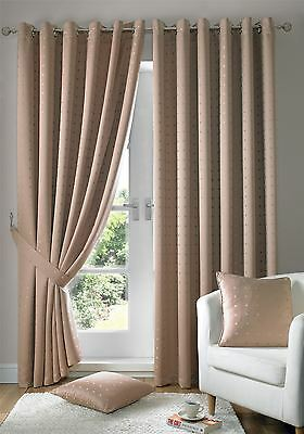 Jacquard Check Latte Beige Lined Ring Top Eyelet Curtains Drapes *6 Sizes* • 46.10£