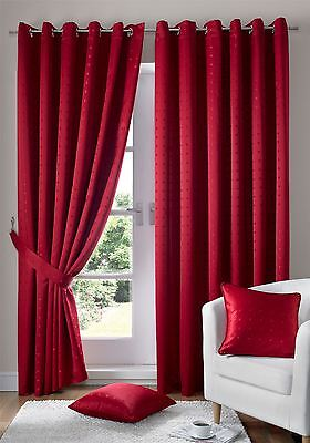 Jacquard Check Red Lined Ring Top Eyelet Curtains Drapes *6 Sizes* • 46.10£