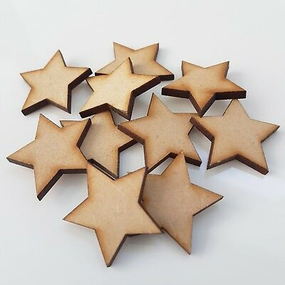 50x Wooden Stars Decor Shapes Laser Cut MDF Embellishments Craft Size 20mm • 2.69£
