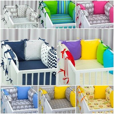 £21.99 • Buy PILLOW BUMPER FOR COT/COT BED 6 Filled Cushions BEAUTIFUL COLOURS STARS GREY