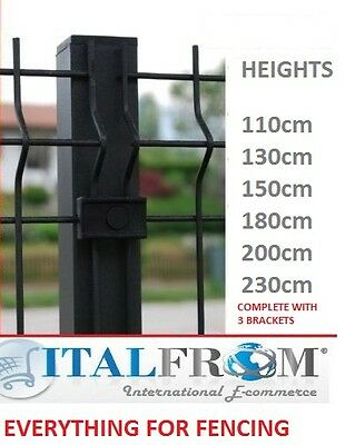 Square Post Anthracite Wire Mesh Fences Electro Welded Fence Panel • 28.42£