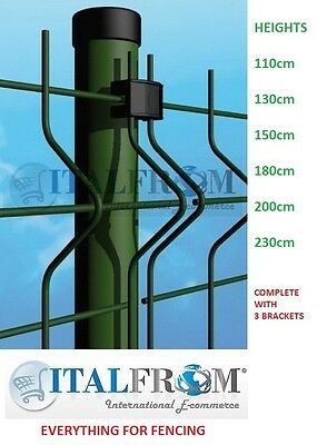 Round Post Green Wire Mesh Fences Electro Welded Fence Panel • 15.98£