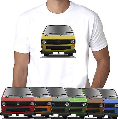 Campervan T25 Choice Of Bus Colour And Personalised Reg Option Mens T-shirt • 11.99£