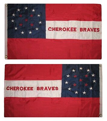 $24.88 • Buy 3x5 Embroidered Cherokee Baves Indian 300D Nylon Flag 3'x5' 2 Clips