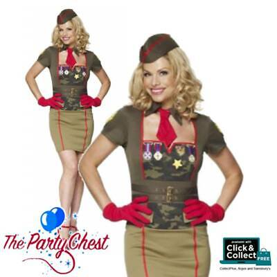 LADIES 1940's ARMY BABE COMPLETE COSTUME Sexy Military Fancy Dress Outfit W2407 • 26.49£