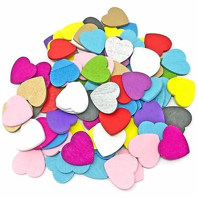 £2.99 • Buy 18mm Love Hearts Wooden Shabby Chic Craft Scrapbook Vintage Coloured Hearts