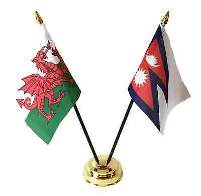 Wales & Nepal Double Friendship Table Flags Set With Base • 4.99£