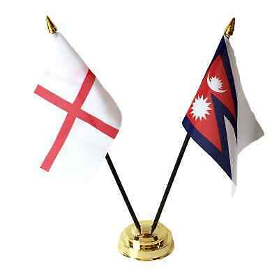 England & Nepal Double Friendship Table Flags Set With Base • 4.99£
