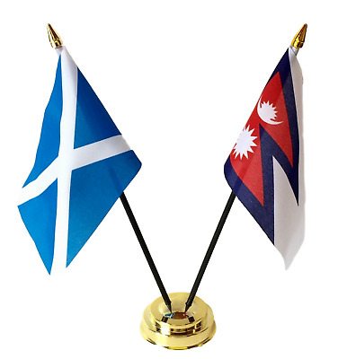 Scotland & Nepal Double Friendship Table Flags  Set With Base • 4.99£