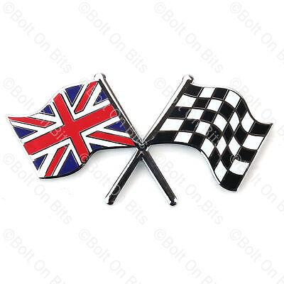 £5.99 • Buy Union Jack Chequered Flags Badge Metal Enamel Self Adhesive MG ZR ZS ZT MGF MGTF