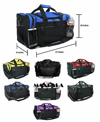 $21.98 • Buy Duffle Duffel Bag Sport Travel Carry-On Workout Gym Red Black Blue Gold Gray 17